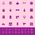 Dressing room color icons on pink background Royalty Free Stock Images