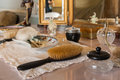 Dressing table accessory in victorian bedroom Stock Photos