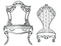 Dressing table and armchair