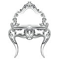 Dressing table with mirror in classic baroque style