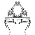 Dressing table in round shape with rich ornaments