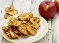 Dried apple tasty homemade apples on the wooden table Royalty Free Stock Image