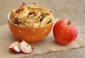 Dried apples in orange bowl on wooden background Stock Images