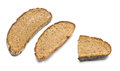 Dried bread slices on the white background Royalty Free Stock Photography