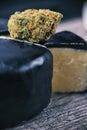 Dried cannabis bud Cheese strain - medical marijuana edibles c Royalty Free Stock Photo