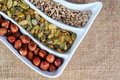 Dried cereal seeds and fruits Royalty Free Stock Photos