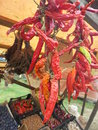 Dried chiles on sale at shelf at the market Royalty Free Stock Image