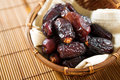 Dried date palm fruits or kurma ramadan food which eaten in fasting month pile of fresh in bamboo basket Stock Image
