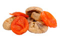 Dried figs and apricots isolated on white Royalty Free Stock Image