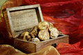 Dried figs in box fig on the red texture Royalty Free Stock Photography