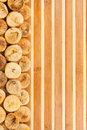 Dried figs lying on a bamboo mat as background Royalty Free Stock Photos