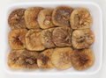 Dried figs on a tray angled top view of supermarket of Stock Image