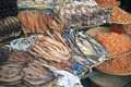 Dried fish on a market in pnom penh cambodia Stock Photo