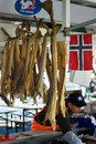 Dried fish at a stall in the Bergen Fish Market, Norway Stock Images