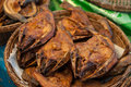 Dried fish various types of sold in the market Stock Images