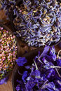 Dried flower petals scented lavender heather and larkspur copy space Royalty Free Stock Photos