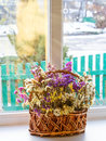 Dried flowers in a basket on a window against winter background bouquet Royalty Free Stock Photography