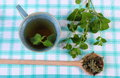 Dried and fresh lemon balm cup of herbal beverage on tablecloth heap green with calming drink sedative herbs concept for healthy Royalty Free Stock Images