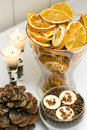 Dried fruit candles display Royalty Free Stock Image