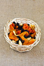 Dried fruit a closeup tropical in a basket Royalty Free Stock Photo