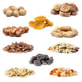 Dried fruit collection on a white background Royalty Free Stock Images