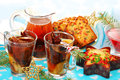 Dried fruit compote and cakes for christmas Stock Photography