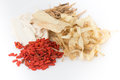 Dried fruit and root chinese herbal medicine used in Stock Images