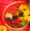Dried fruits on chinese new year background Royalty Free Stock Photo