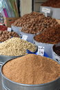 Dried fruits and legumes at a market stall in morocco Royalty Free Stock Image