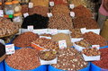 Dried fruits and legumes at a market stall in morocco Stock Photo