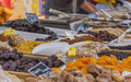 Dried fruits market stall in france with Royalty Free Stock Photo