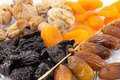Dried fruits mix apricot prunes dates and figs Royalty Free Stock Images
