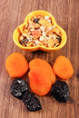 Dried fruits and muesli in bowl concept of healthy nutrition and increase metabolism portion ingredients with dietary fiber Royalty Free Stock Photography
