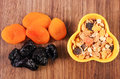 Dried fruits and muesli in bowl, concept of healthy nutrition and increase metabolism Royalty Free Stock Photo