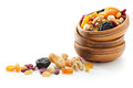 Dried fruits and nuts assorted Royalty Free Stock Images