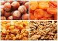 Dried fruits and nuts collection of backgrounds Stock Photography