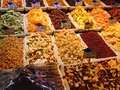 Dried fruits and nuts snacks at market Stock Photography