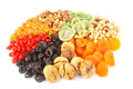 Dried fruits round Royalty Free Stock Images