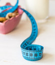 Dried fruits yogurt and centimeter for dieting fruit Stock Photography