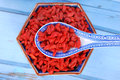 Dried goji berries on chinese spoon and in a bowl Royalty Free Stock Photo