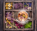 Dried Herbs and flowers and herbal tea Royalty Free Stock Photo
