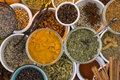 Dried herbs and spices a selection of use in cooking to add seasoning flavor to a meal Royalty Free Stock Photos