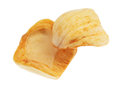 Dried jackfruit chips close up of isolated on white background Royalty Free Stock Photos