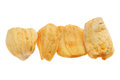 Dried jackfruit chips close up of a pile of isolated on white background Stock Images