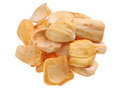 Dried jackfruit chips close up of a pile of isolated on white background Royalty Free Stock Photos