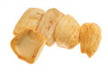 Dried jackfruit chips close up of a pile of isolated on white background Royalty Free Stock Image