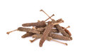 Dried long pepper javanese long pepper with stem on white background Stock Photo