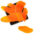 Dried Mango Slices in Black Bowl OverWhite Royalty Free Stock Photo