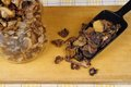 Dried mushrooms on a kitchen board Stock Photography