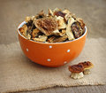 Dried mushrooms in orange bowl on wooden background Stock Images